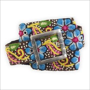Floral Hand Embroidered Wool Belt - NEW